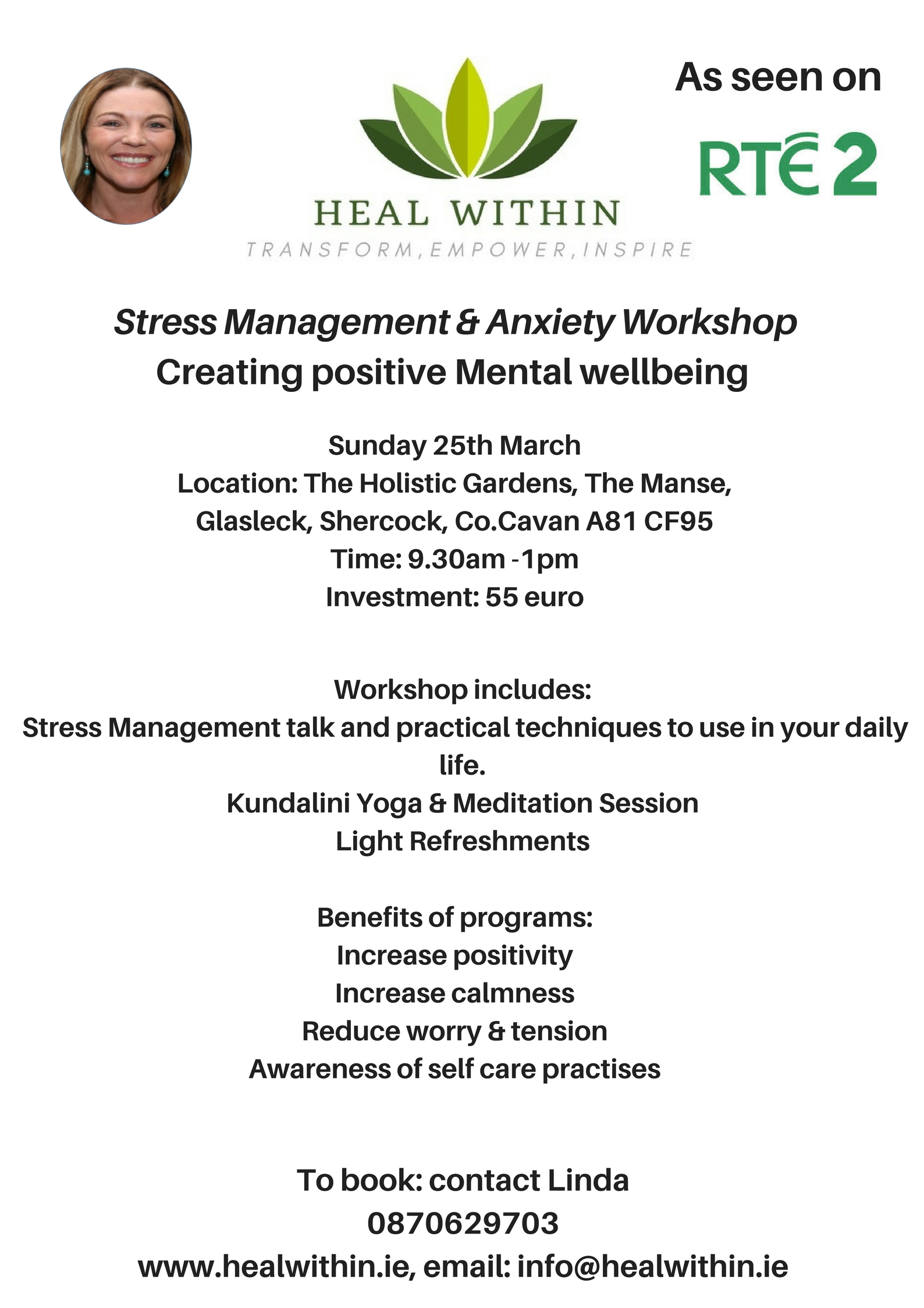 Heal Within- Stress Management & Anxiety Workshop Sunday March 25th 9.30-1pm